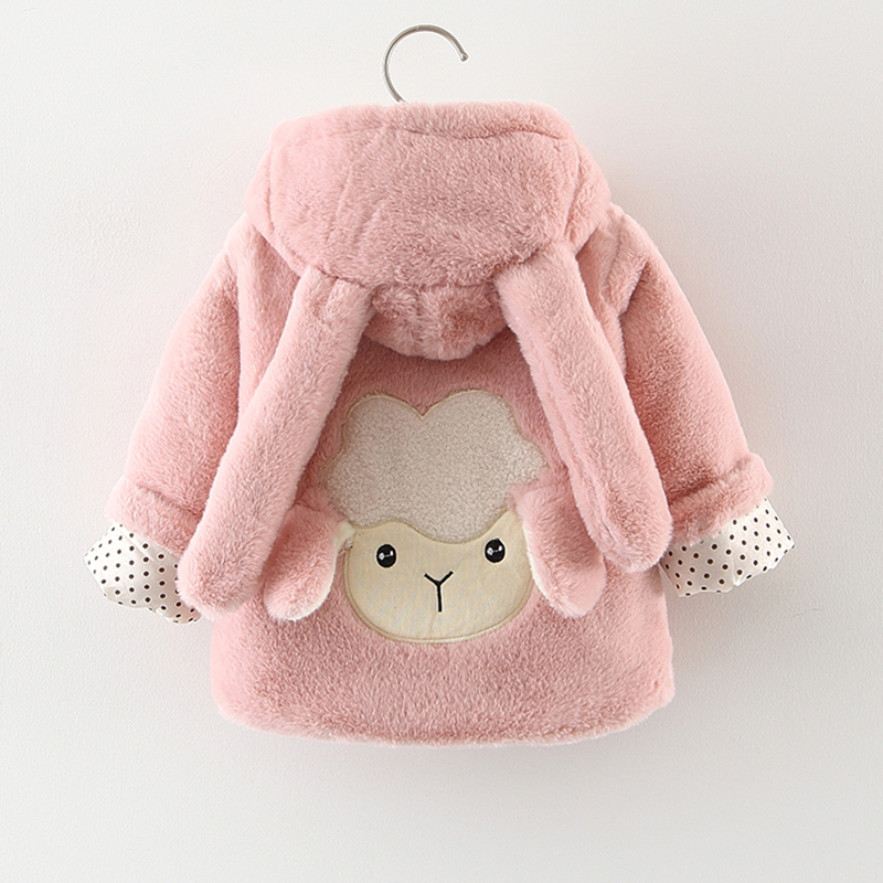 Kids toddler coat outerwear thick girls fur coat winter coat for girl hooded baby Jacket rib cuff zippered hooded coat