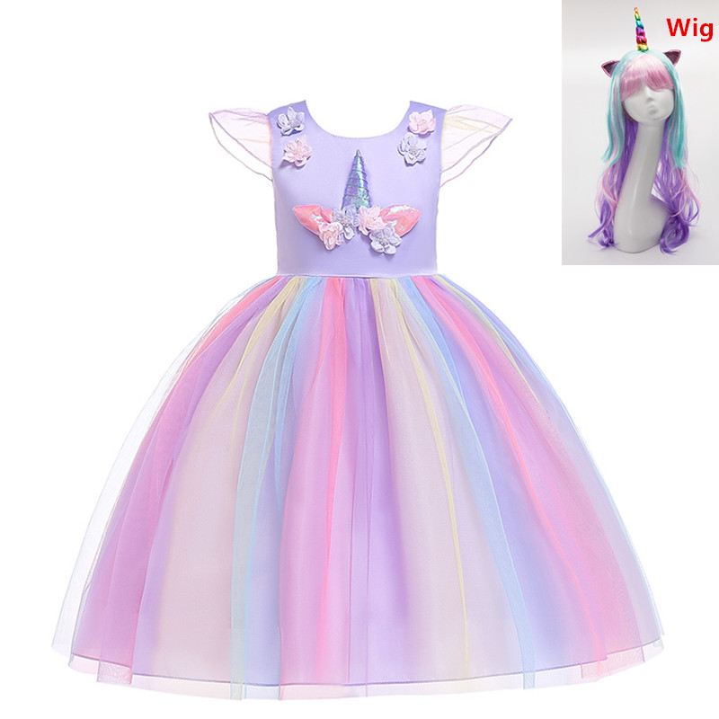 Flower Girls Cosplay Unicorn Dress Children's Day Princess Girl Birthday Party Dress Children Kids Halloween Unicorn Costume Wig