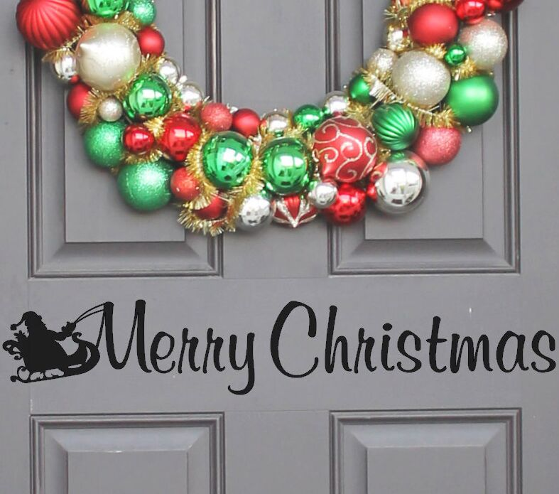 Entry Way Door Vinyl Decal Merry Christmas Window Stickers Front Door Decor  Christmas Wall Decals Removable Holiday Mural AY1463