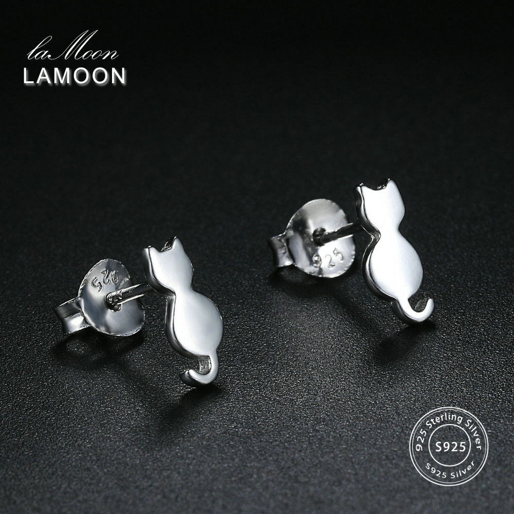 LAMOON 2018 New Lovely Cat Shaped 100% Real 925-Sterling-Silver Stud Earrings S925 Fine Jewelry For Women Girl Gift LMEY170