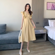 Sexy Women Long Dress Ruffled V-neck Maxi Sleeveless A-line Dresses Sundress Female Summer