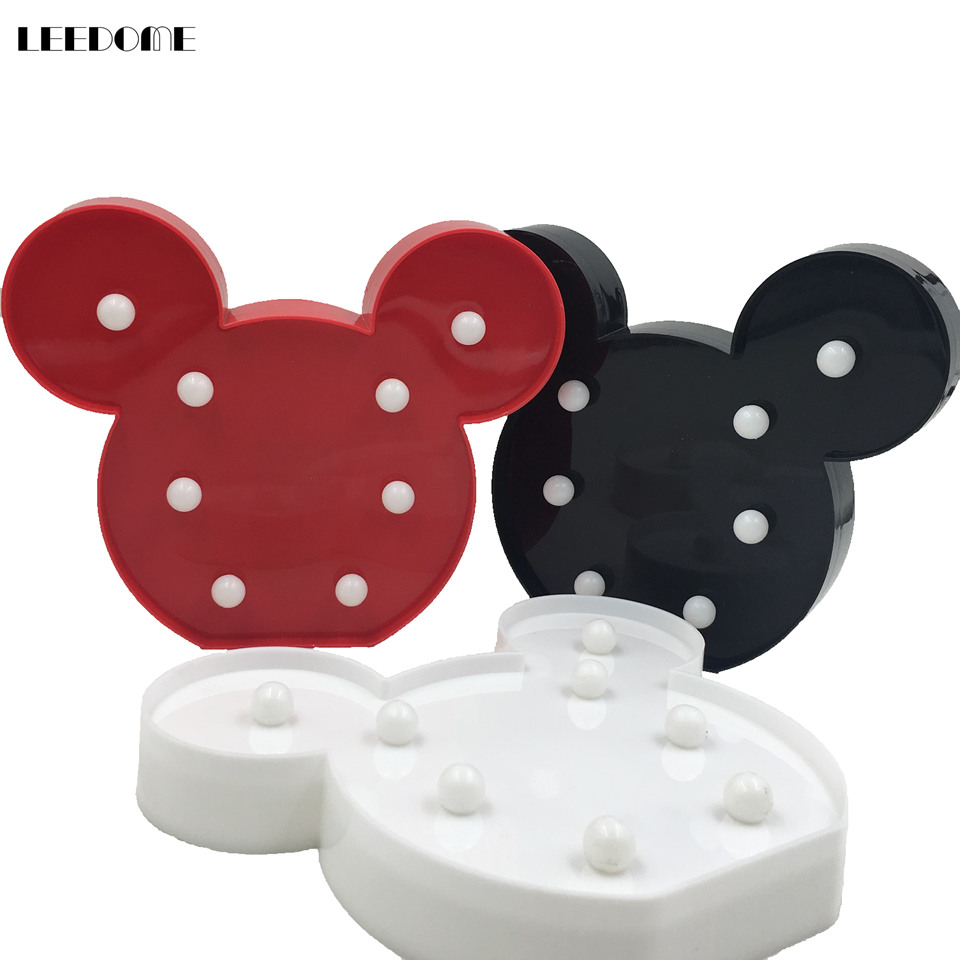Dropship Cute Mickey Style Led Nightlight Black White Body AA Battery Powered Home Decoration Lamp Novelty Kids Gift Luminaire