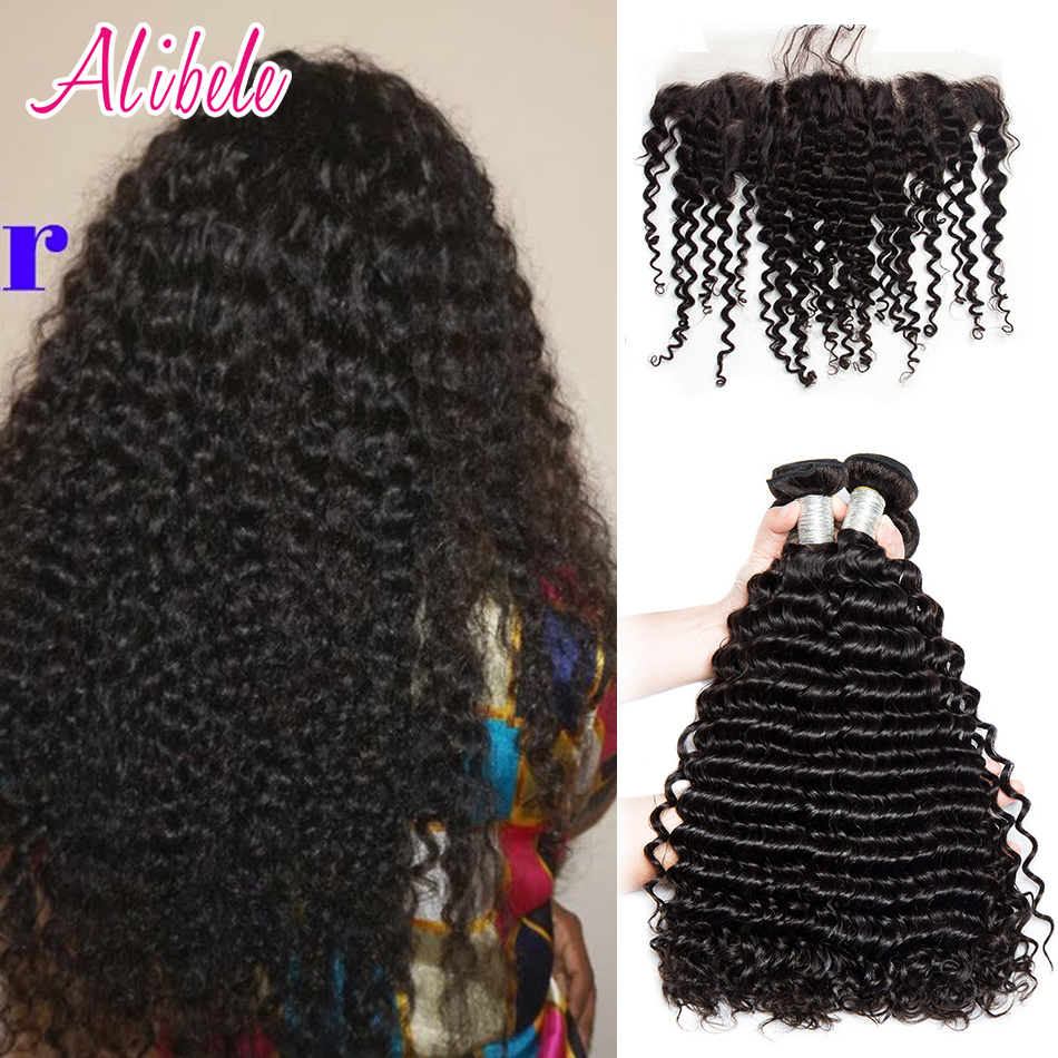 Alibele Peruvian Deep Curly Bundles With Frontal Closure Curly Weave Human Hair Lace Closure With Bundles