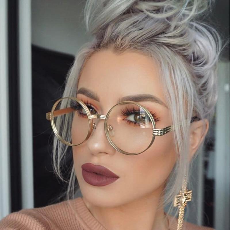 Round Steampunk Clear Lens Sun Glasses For Women Alloy Frame Retro Vintage Sunglasses  Mens Brand Designer Round Sunglasses Women 7f71e0ee8d56