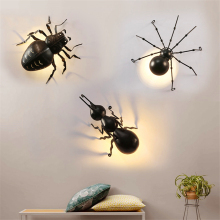 Outdoor Insects LED Ant Spider Beetle Wall Lamps Interesting Animal Lights Black Iron Luminaire Bracket