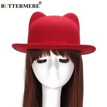 BUTTERMERE rojo lana Fedora gorras para las mujeres invierno primavera  Vintage elegante señoras sombreros arco orejas b8f6225e958