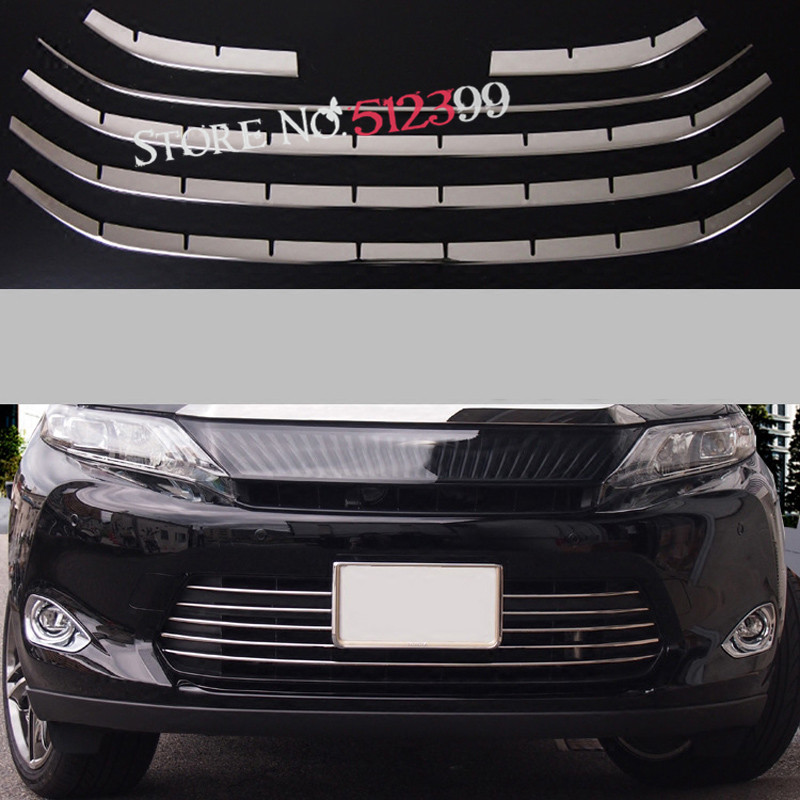 Car Styling! 6PCS  Stainless Steel Front Bottom Center Grille Cover Trim For Toyota Harrier XU60 2013 2014 2015 2016 2017 2007 2009 fit for toyota corolla high quality stainless steel front center grill grid grille cover trim car styling 2pcs