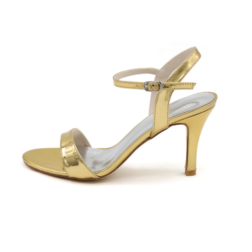 433754497517f Creativesugar metallic PU silver gold black blue woman simple sandal summer  dress shoes 8.5cm fashion show prom party 4 cplors-in High Heels from Shoes  on ...