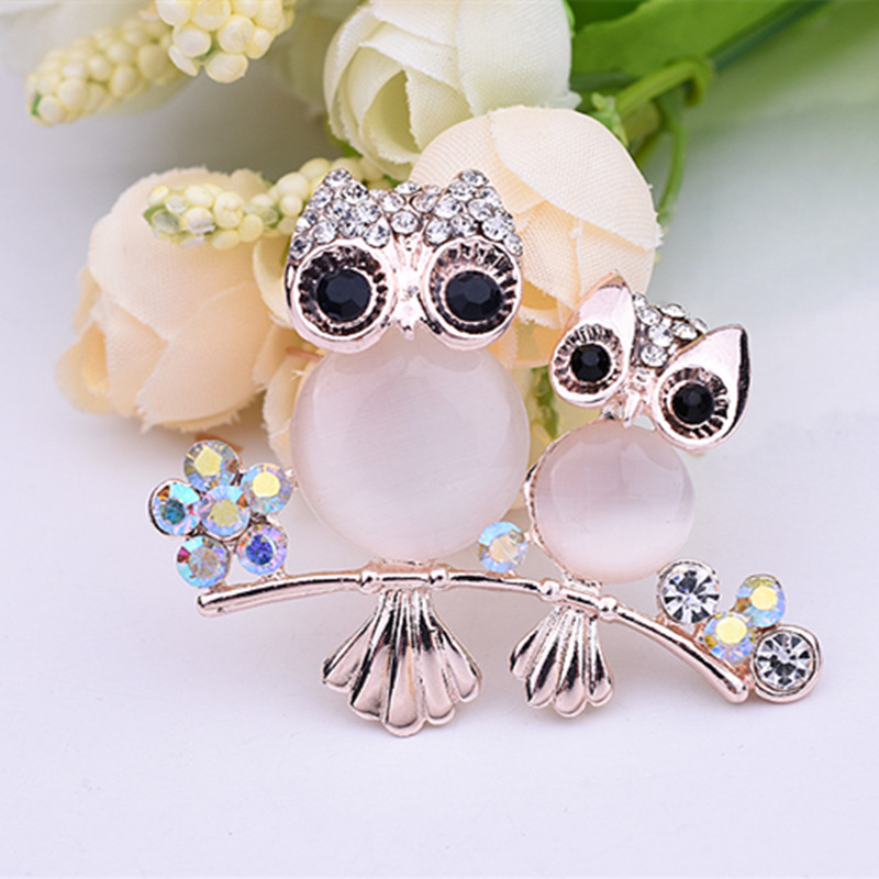 New Arrival Korea Cat Eye Stone Owl Brooches For Wedding Bouquet Scarf Pin Shawl buckle Men and Women Shirts Suit Accessories