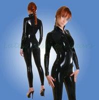 Sexy Women's Latex Catsuit Black Gummi Bodysuit Hot Sale