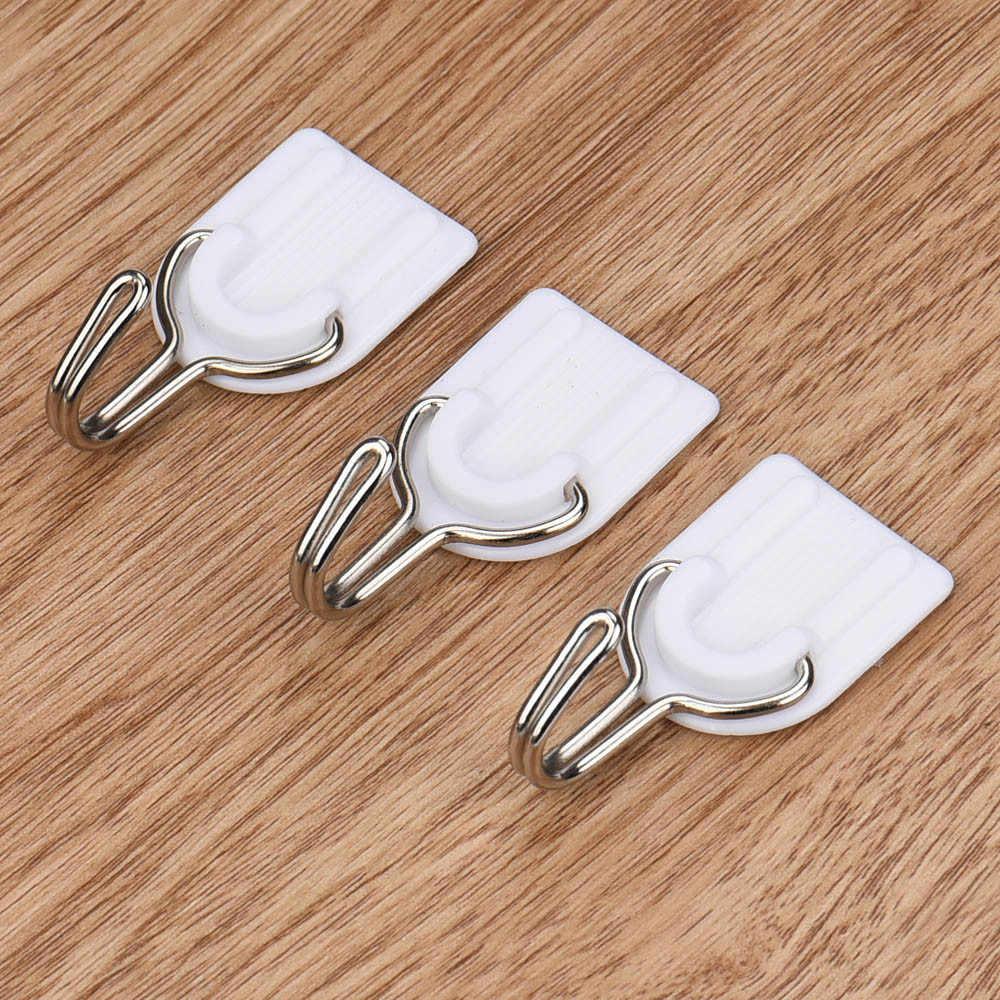 6 pçs forte adesivo gancho de parede porta pegajosa cabide titular cozinha banheiro cabides brancos para roupas 8.30