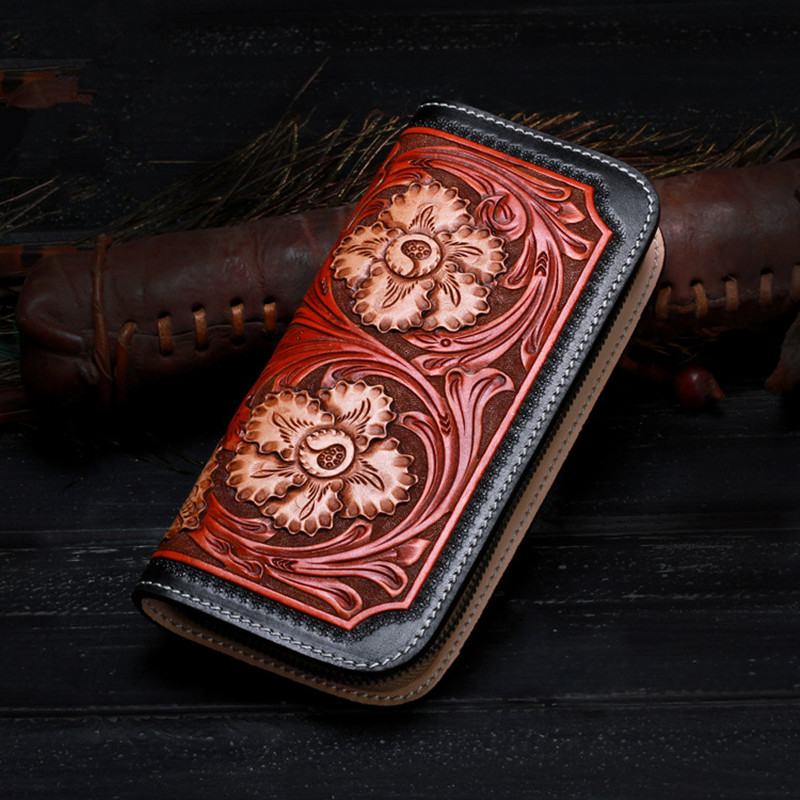 High-quality Genuine Leather Wallets Carving Flower Zipper Bag Purses Women Men Long Clutch Vegetable Tanned Leather Wallet luxury brand vintage handmade genuine vegetable tanned cow leather men women long zipper wallet purse wallets clutch bag for man