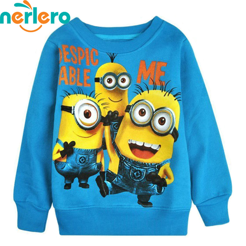 2015 New Boys Hoodies Cartoon Round Minion Collar Fleece Children Wear T-shirts Children's Clothes Kids Coat Autumn Tops - Chris Industrial Store store