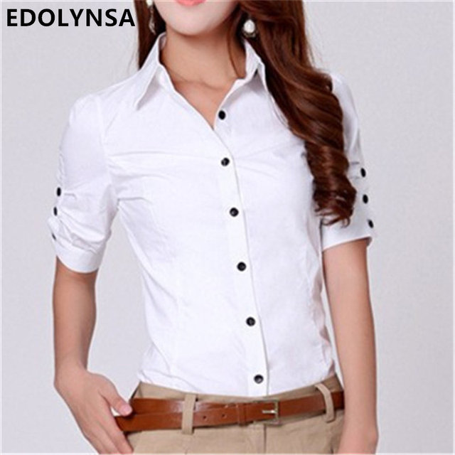 Women S Short Sleeve Blouses Button Down Breeze Clothing