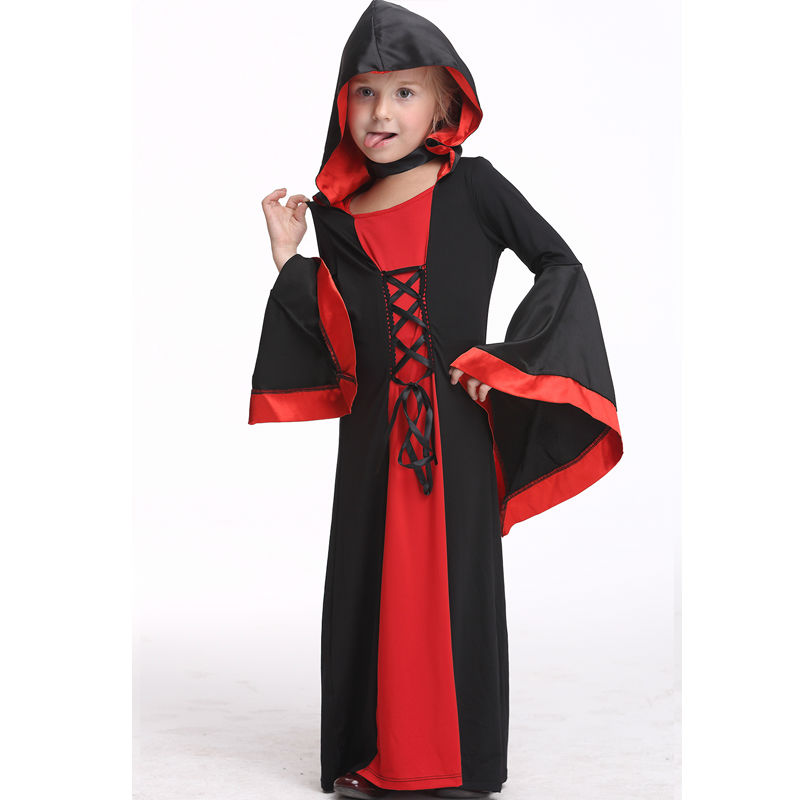 Kids Vampire Costume Halloween Costume For Girl Performance Dancewear Long Dress Role Play Party Cosplay Carnival Children Dress 4pcs gothic halloween artificial devil vampire teeth cosplay prop for fancy ball party show
