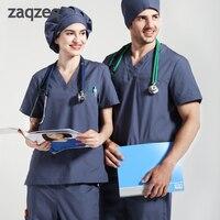 Professional Medical Uniform Women and Man Scrubs Set Medical Scrubs V Neck Top and Drawstring Pants