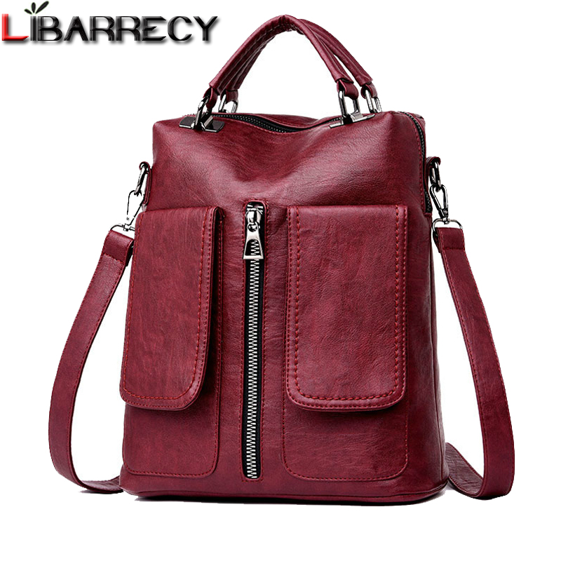 New Casual Double Pocket Backpack Female Large Capacity School Bag For Girls High Quality Leather Shoulder Bags For Women 2018