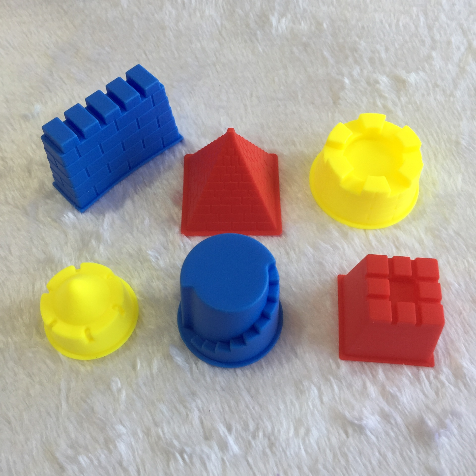 6pcs Small Child Kid Model Building Kits Portable Castle Sand Clay Mold Building Pyramid Sandcastle Beach Sand Toy