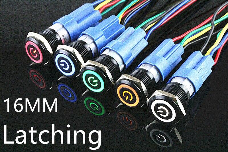 1 pcs Oxidação preto À Prova D' Água de Metal Botão Interruptor Com luz LED 24 12 5 v v v 220 v VERMELHO AZUL VERDE AMARELO Auto-bloqueio