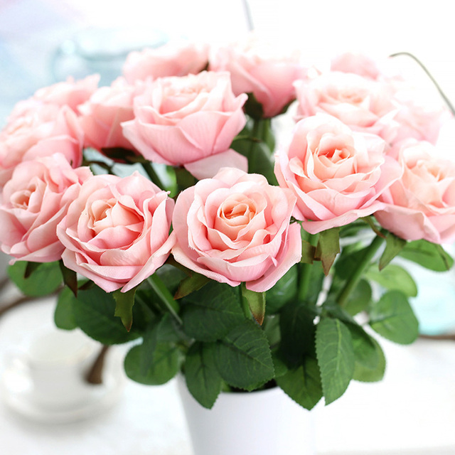 Artificial Silk Rose Flowers Floral Bouquet Fake blooming rose Flower For Wedding Party DIY Home Decoration