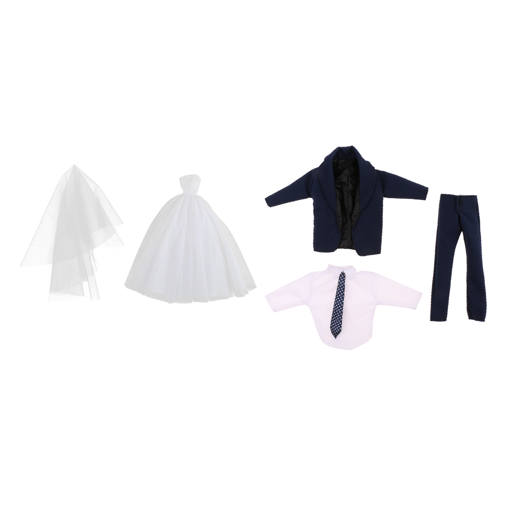 09b2c68e89 US $18.45 |Wedding Outfit Suit Bride White Wedding Dress Sleeveless Gown w/  Veil & Black Tux For Barbie Dolls Accessory-in Dolls Accessories from Toys  ...