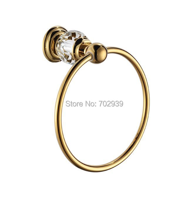 FREE SHIPPING NEW design 24k GOLD crystal towel ring