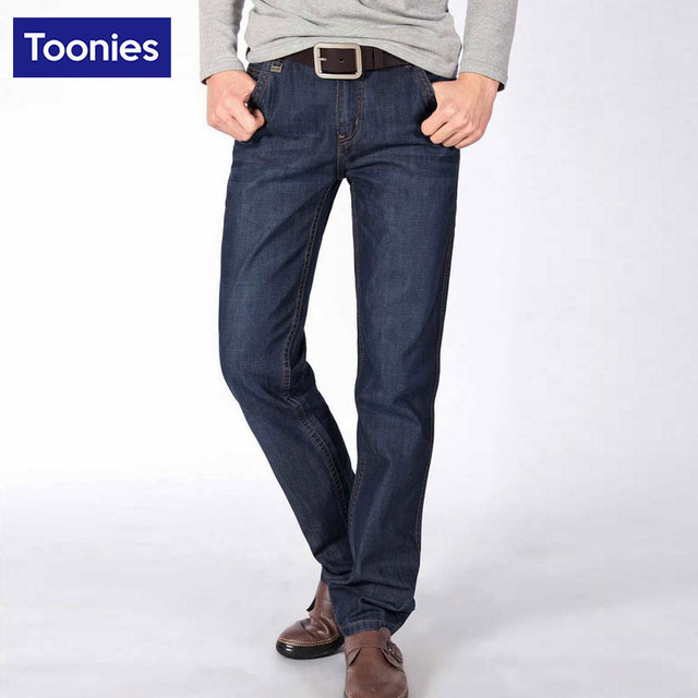 Blue Straight Pants Men Full Length Jeans Trousers Natural Waist Denim Pants Homme Casual Street Brand Clothing Plus Size 28-38