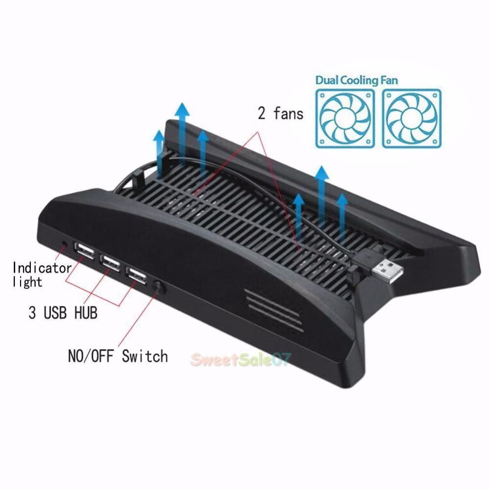 3-USB Dual Cooling Fans Dock Station Stand For Playstation PS4 Pro Console NEW 0322