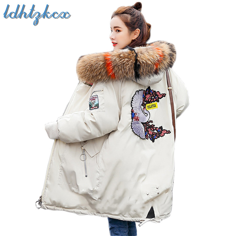 Winter Coat Women Plus Size Big Fur Hooded   Parka   Korean Casual Long Loose Thick Fashion Warmth Zipper Pockets Chic Jackets CX347