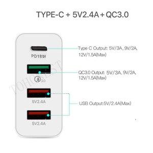 "Image 4 - 48W רב מהיר מטען פ""ד סוג C USB מטען עבור סמסונג iPhone Huawei Tablet QC 3.0 מהיר קיר מטען ארה""ב האיחוד האירופי בבריטניה AU Plug מתאם"
