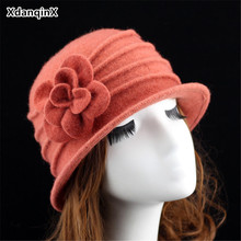 XdanqinX 2018 Winter Women's Hat Wool Warm Fedoras Fashion Headdresses Flower Decoration Female Hats Elegant Brand Women Hat