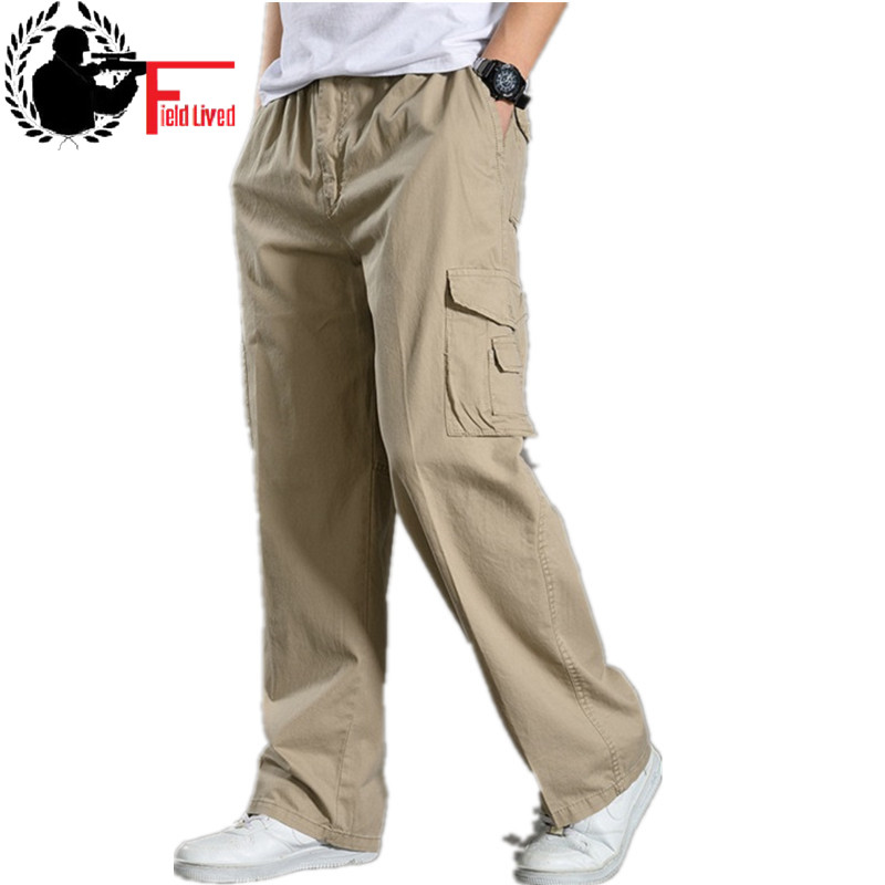 Men Work Clothing Cargo Pants Male Plus Size 4XL 5XL 6XL Army Green Elastic Waist Wide Leg Big Tactical Trousers Workman Jogger