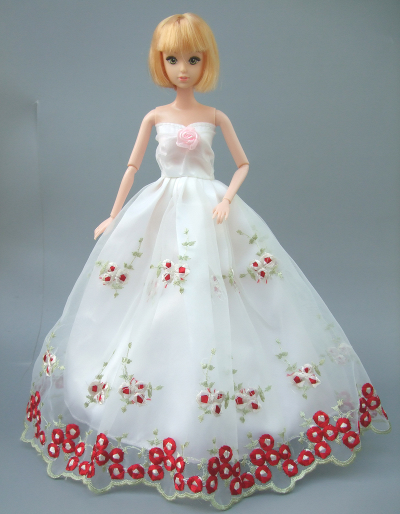 Embroidery Gown white wedding full around lace dress for Barbie doll ...