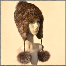 The new winter mink knitted women warm hat children fashion ear cap fox ball cap