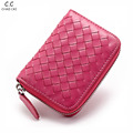 sheepskin hand knitting fashion women genuine leather wallet small card holder mini  zipper purse #48