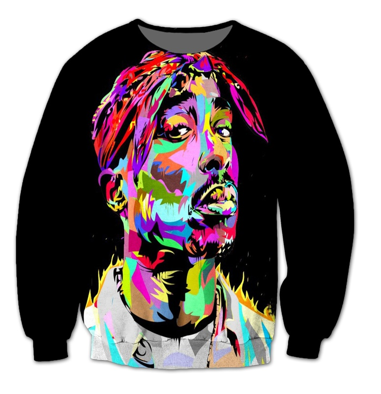 2018 NEW FASHION MEN AND WOMEN The Tupac black 3D Print Sweat shirts Pullovers Tracksuit Streetwear Loose Thin Hoody Tops