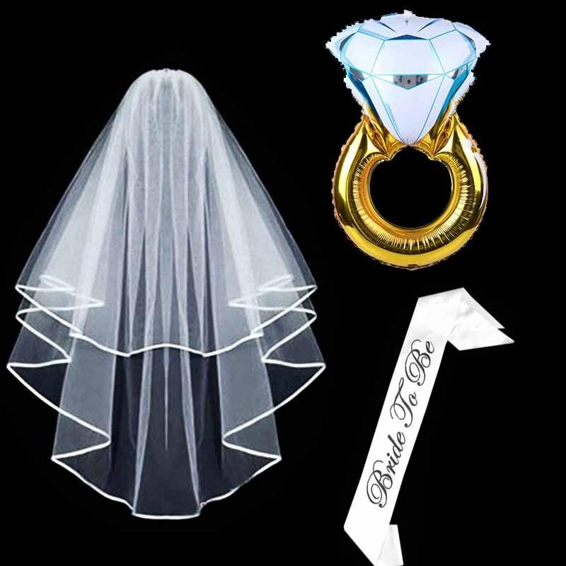 1 set White Bridal Shower Wedding Veil Bride To Be Satin Sash Ring Balloons Bachelorette Party girls Hen night Party Decoration