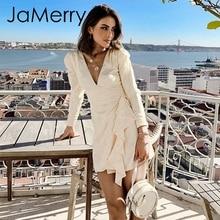 JaMerry Vintage sexy satin ruffle dress Puff sleeve women pa