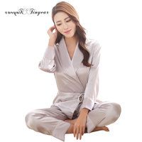 Elegant Women Night Suit Long Sleeve Full Length Pants Pijama Verano Mujer V Neck Solid Color