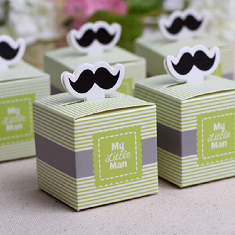 "20Pcs/set Cute ""My Little <font><b>Man</b></font>"" Mustache Blue Green Birthday boy baby shower <font><b>Candy</b></font> Box Gift Packaging Chocolate Boxes"
