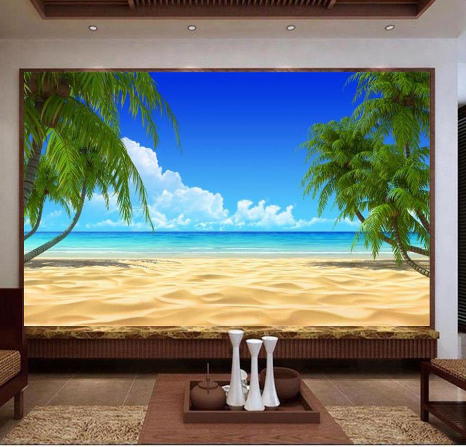 US $14 7 OFF Kustom 3D Foto Wallpaper Lukisan Dinding Ruang Tamu Stiker Dinding Pantai Tropis Pemandangan 3D Gambar 3D Dinding Mural Wallpaper