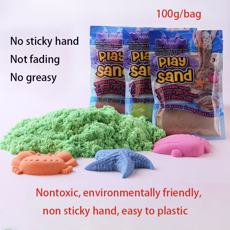 7 colors no sticky hand not fading no greasy Space color 100g molding sand DIY ultra light clay silme non-toxic DIY kids toys