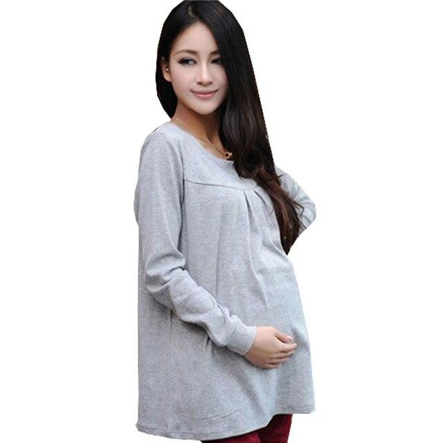 fd5565b9c Otoño Invierno embarazada maternidad Tops algodón embarazo básica camiseta  Maternidade ropa de manga larga ropa para