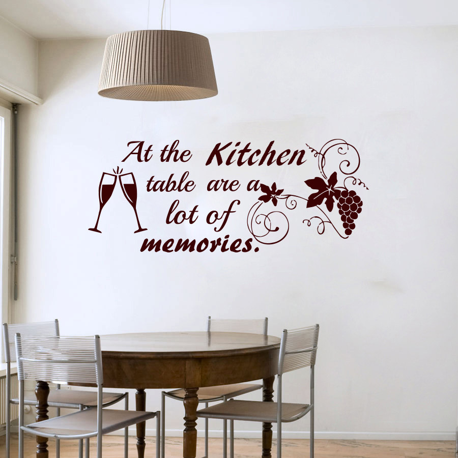 Dctop At The Kitchen Table Are A Lot Of Memories Wine Glasses Grape Wall Sticker Quote Vinyl Art Decal Removable Home Decor