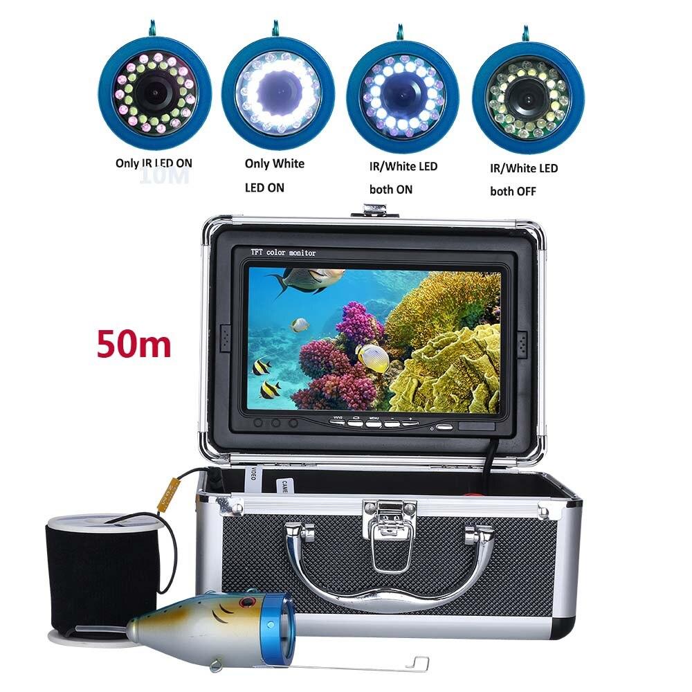 PDDHKK 7 Inch 1000TVL Visual Video Fish Finder Fish Camera for Sea/River Fishing 15 x White LEDs 15 x Infrared Lamp 50M CablePDDHKK 7 Inch 1000TVL Visual Video Fish Finder Fish Camera for Sea/River Fishing 15 x White LEDs 15 x Infrared Lamp 50M Cable