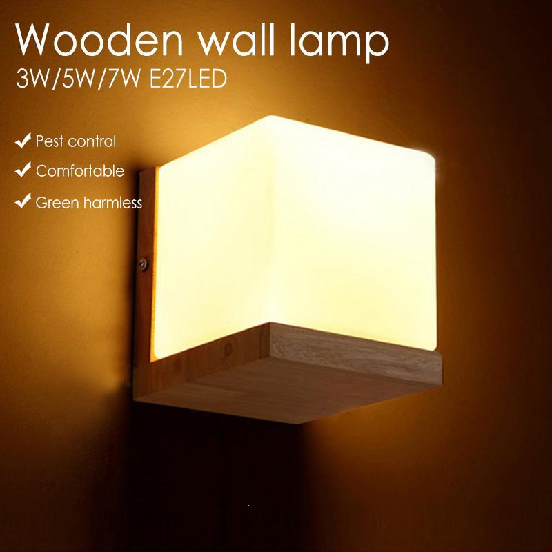 Modern Wall Lamps Oak Wood Cube Sugar Lampshade Bedroom Bedside Wall Light Home Sconce Lotus Light Fixtures Indoor Lighting Z3 недорго, оригинальная цена