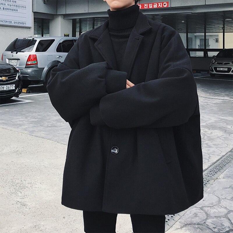 2019 Winter Men's Fashion Loose Casual Parkas Trench Black/Khaki Woolen Blends Cashmere Long Coats Cotton-padded Clothes M-2XL