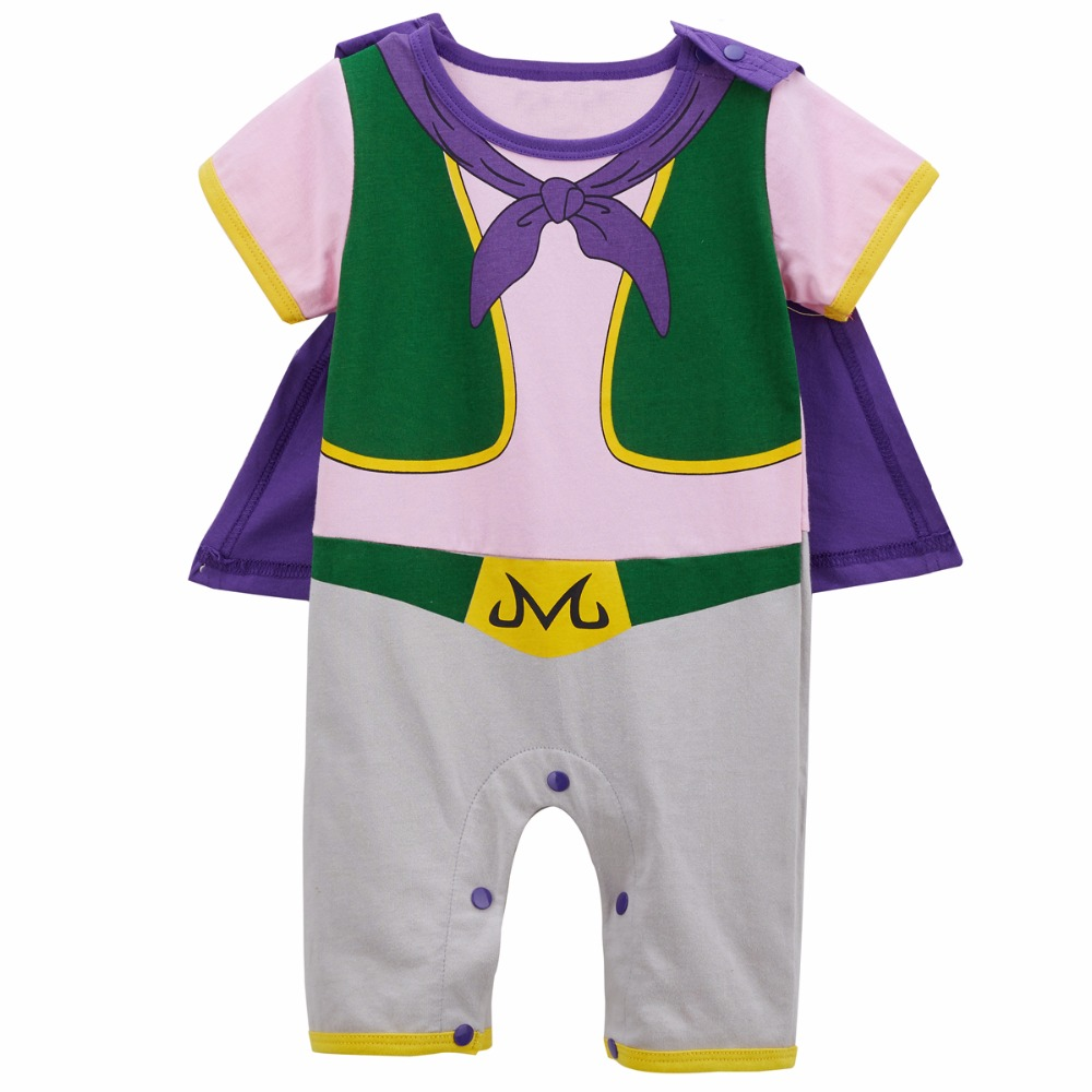 Baby Boys Majin Buu Costume   Romper   Infant Dragon Ball Cosplay Jumpsuit One Piece Newborn Funny Playsuit with Cape
