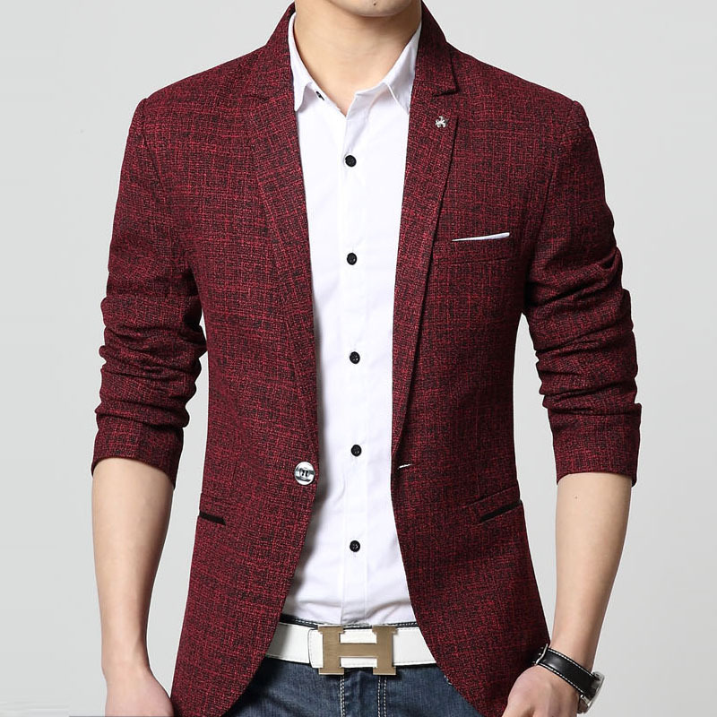 67e8d416ef9c Spring Fall Fashion Formal Business Mens Wine Red Grey One Button Blazer  Coat