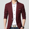 Spring Fall Fashion Formal Business Mens Wine Red Grey One Button Blazer Coat , Men Slim Linen Autumn Casual Blazers Man Coats